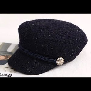 Visor Military Cap Women, Tweed. Dark Blue